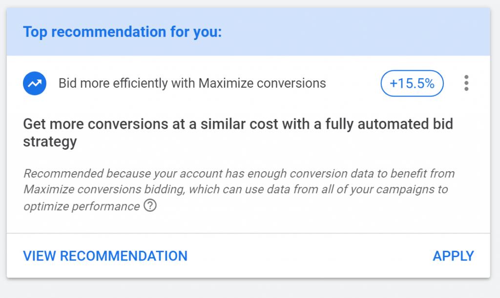google ads management reccomendations